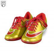 کفش فوتسال طرح نایکی طلایی قرمز CR7