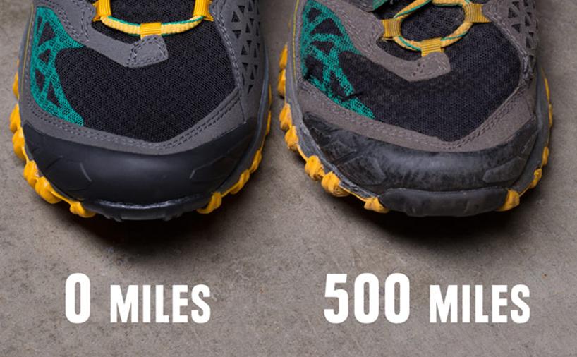 مقایسه یک کفش در زمان خرید و پس از 500 مایل دویدن