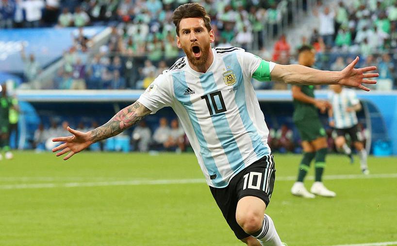 خوشحالی لیونل مسی در بازی ملی تیم آرژانتین