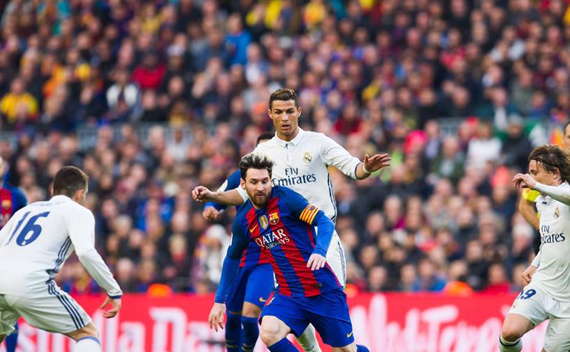 رونالدو و مسی در بازی ال کلاسیکو رئال مادرید و بارسلونا