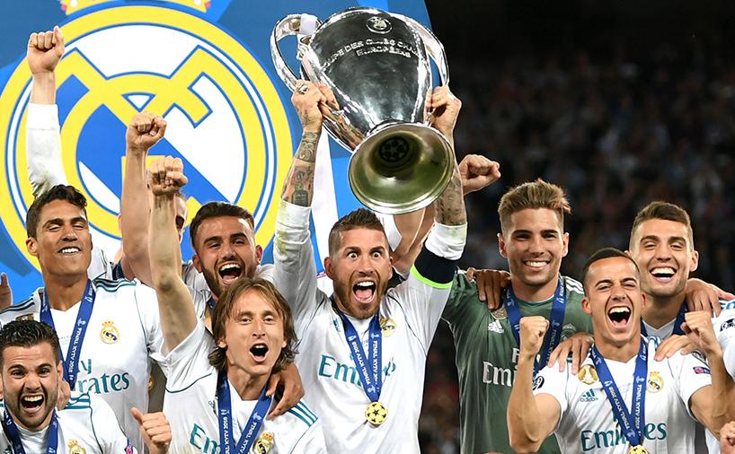 خوشحالی بازیکنان رئال مادرید در مراسم اهدا جام